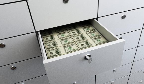 нужная сумма заносится в специальную ячейку в банке